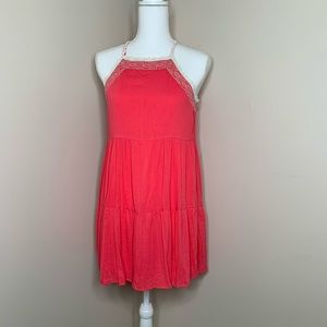3/$20 RED CAMEL Pink Halter Top Lace Strap Dress
